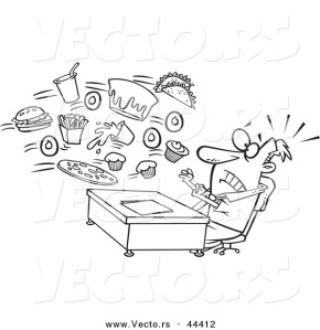 vector-of-an-alerted-cartoon-businessman-bombarded-with-junk-food-at-the-office-coloring-page-outline-by-ron-leishman-44412